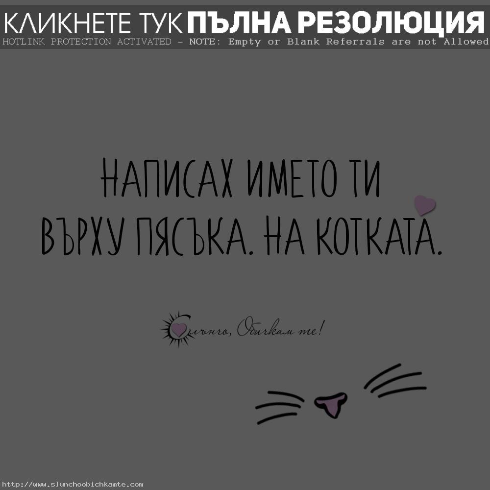 Написах името ти върху пясъка. На котката. - Забавни статуси за любов и раздяла, любовни мисли, любовни цитати, любовни фрази, любовни цитати, не те обичам вече, разбито сърце