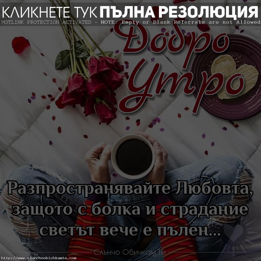 Добро утро. Разпространявайте любовта, защото с болка и страдание светът вече е пълен... - Добро утро, пожелания за добро утро, добро утро кафе, добро утро рози, добро утро статуси, добро утро картинки