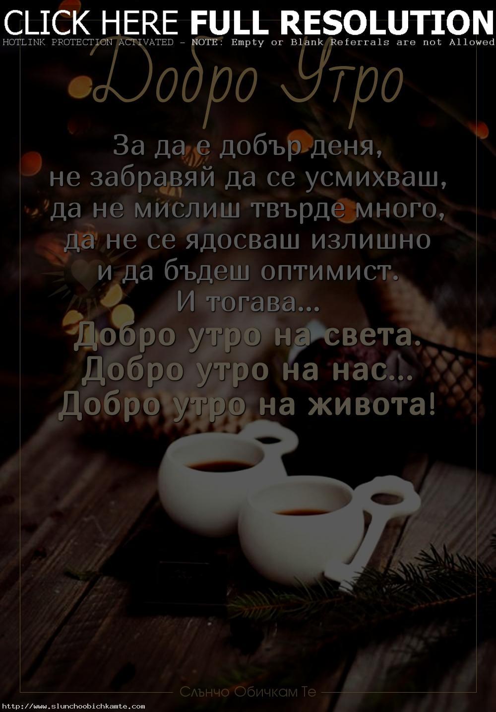 За да е добър деня, не забравяй да се усмихваш, да не мислиш твърде много, да не се ядосваш излишно и да бъдеш оптимист. И тогава, добро утро на света, добро утро на нас, добро утро на живота - Пожелания за добро утро, коледно добро утро, добро утро зима декември